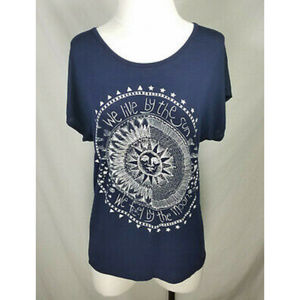 🌸French Pastry Navy Blue Sun Moon Stars Shirt Tee